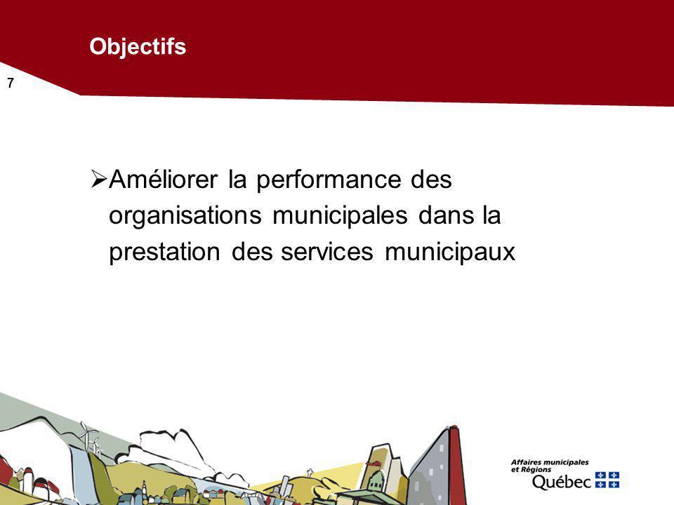 7 Objectifs Améliorer la performance des organisations municipales dans la prestation des services municipaux