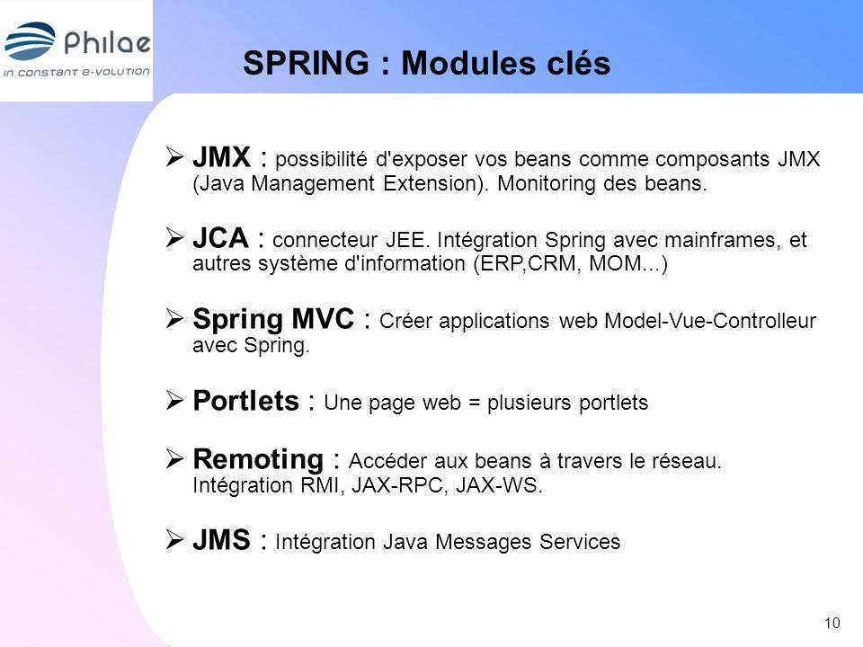 10 SPRING : Modules clés JMX : possibilité d'exposer vos beans comme composants JMX (Java Management Extension). Monitoring des beans. JCA : connecteu