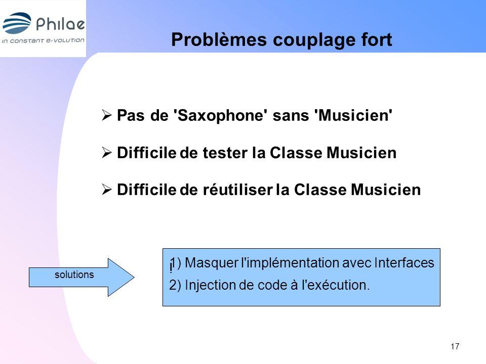 Problèmes couplage fort Pas de 'Saxophone' sans 'Musicien' Difficile de tester la Classe Musicien Difficile de réutiliser la Classe Musicien 17 soluti