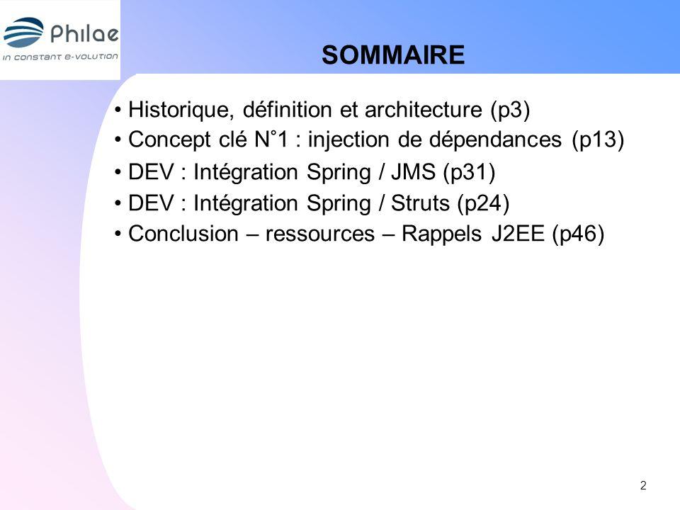 SOMMAIRE Historique, définition et architecture (p3) Concept clé N°1 : injection de dépendances (p13) DEV : Intégration Spring / JMS (p31) DEV : Intég