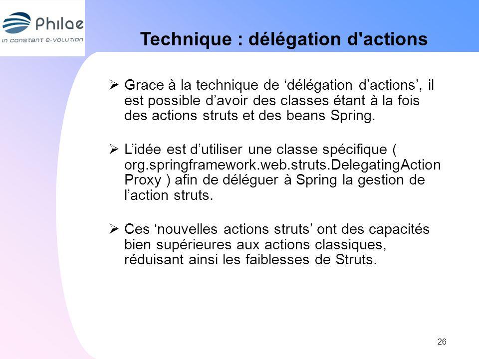 Technique : délégation d'actions Grace à la technique de délégation dactions, il est possible davoir des classes étant à la fois des actions struts et