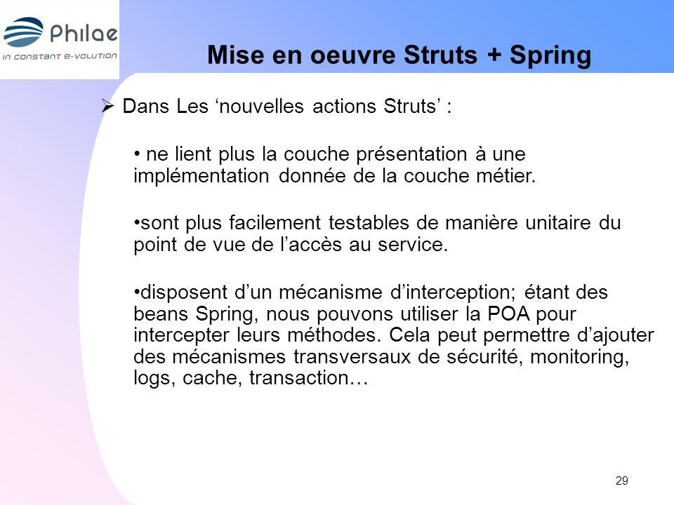 Mise en oeuvre Struts + Spring Dans Les nouvelles actions Struts : ne lient plus la couche présentation à une implémentation donnée de la couche métie