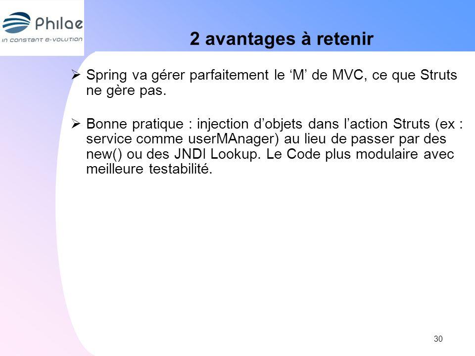 2 avantages à retenir Spring va gérer parfaitement le M de MVC, ce que Struts ne gère pas. Bonne pratique : injection dobjets dans laction Struts (ex