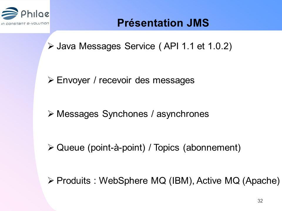 Présentation JMS Java Messages Service ( API 1.1 et 1.0.2) Envoyer / recevoir des messages Messages Synchones / asynchrones Queue (point-à-point) / To