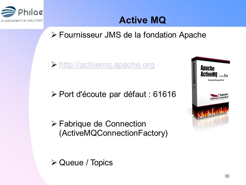 Active MQ Fournisseur JMS de la fondation Apache http://activemq.apache.org Port d'écoute par défaut : 61616 Fabrique de Connection (ActiveMQConnectio
