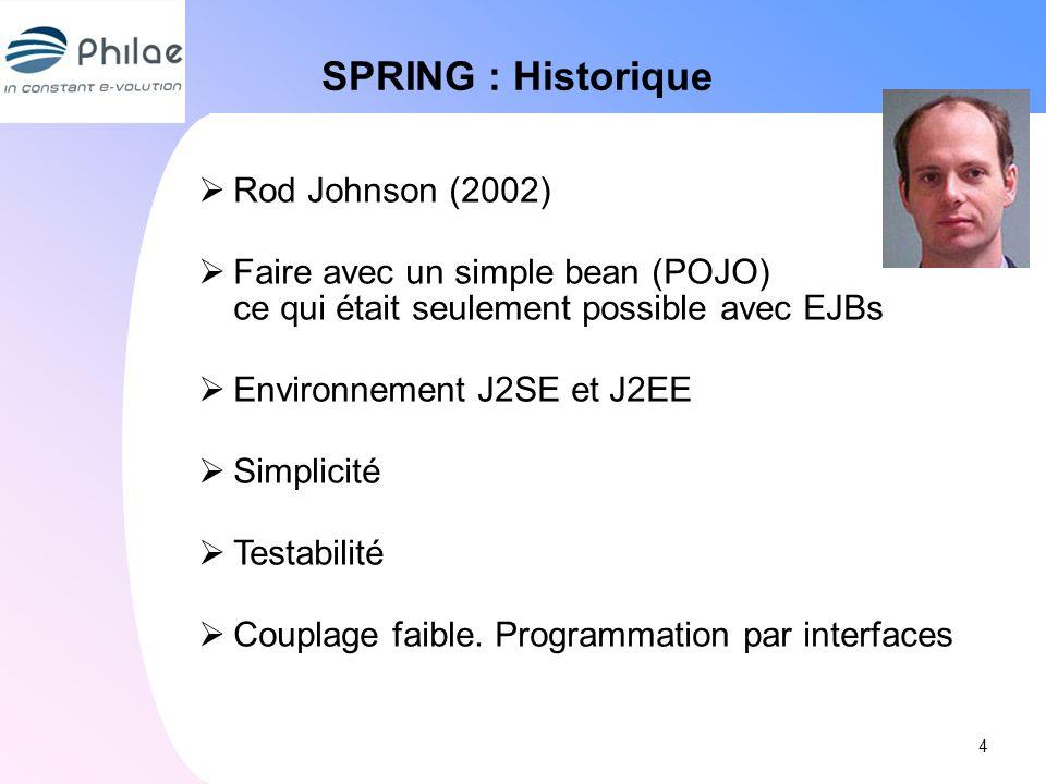 SPRING : Historique Rod Johnson (2002) Faire avec un simple bean (POJO) ce qui était seulement possible avec EJBs Environnement J2SE et J2EE Simplicit