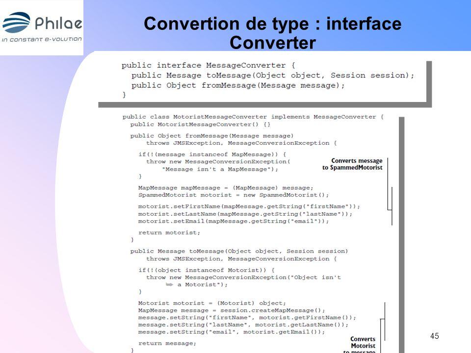 Convertion de type : interface Converter 45