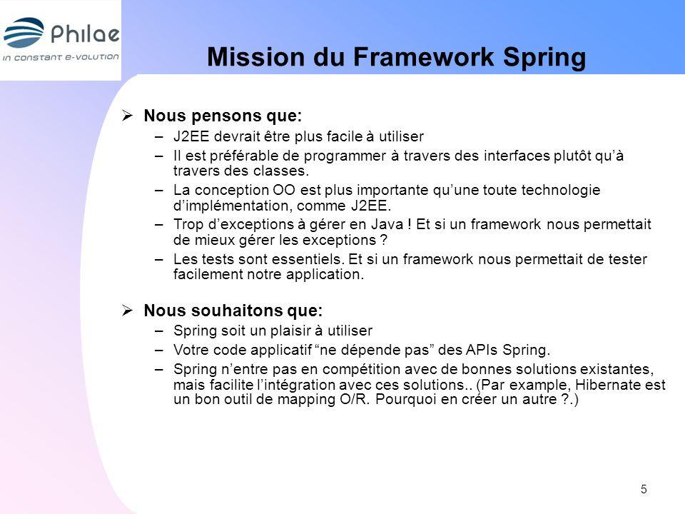 Mission du Framework Spring Nous pensons que: –J2EE devrait être plus facile à utiliser –Il est préférable de programmer à travers des interfaces plut