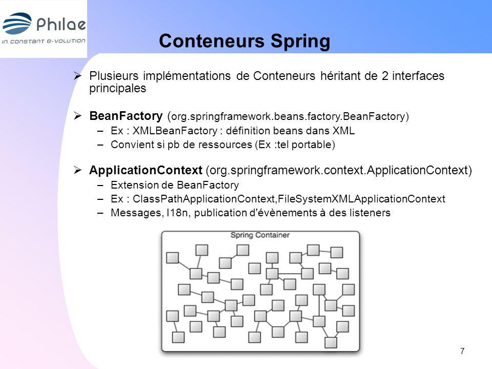 Conteneurs Spring Plusieurs implémentations de Conteneurs héritant de 2 interfaces principales BeanFactory ( org.springframework.beans.factory.BeanFac