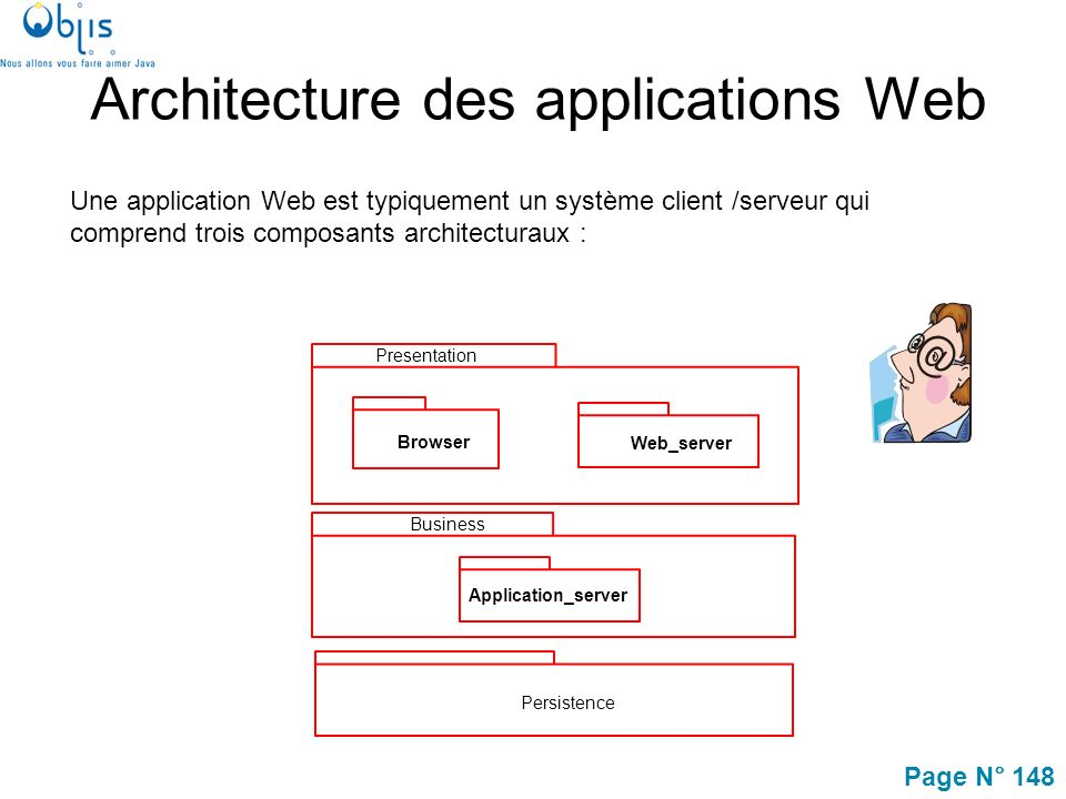 Page N° 148 Architecture des applications Web Une application Web est typiquement un système client /serveur qui comprend trois composants architecturaux : Presentation Browser Web_server Persistence Business Application_server