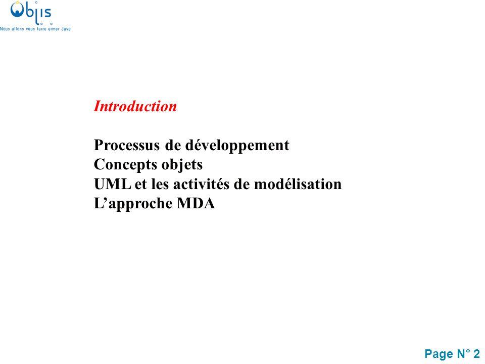 Page N° 33 Introduction Processus de développement objet Concepts objets UML et les activités de modélisation Lapproche MDA