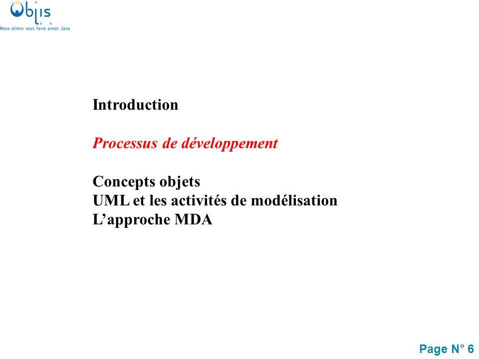 Page N° 7 Le processus de développement objet Ce processus est : –basé sur la réalisation de modèles (Model Driven), –dirigé par les besoins (Cas dutilisation), –centré sur l architecture, –récursif, –itératif et incrémental, … Des enjeux majeurs sont : –la traçabilité entre les différents modèles –la validation et la réutilisabilité des modèles à différents niveaux dabstraction, –lautomatisation de certaines tâches de conception