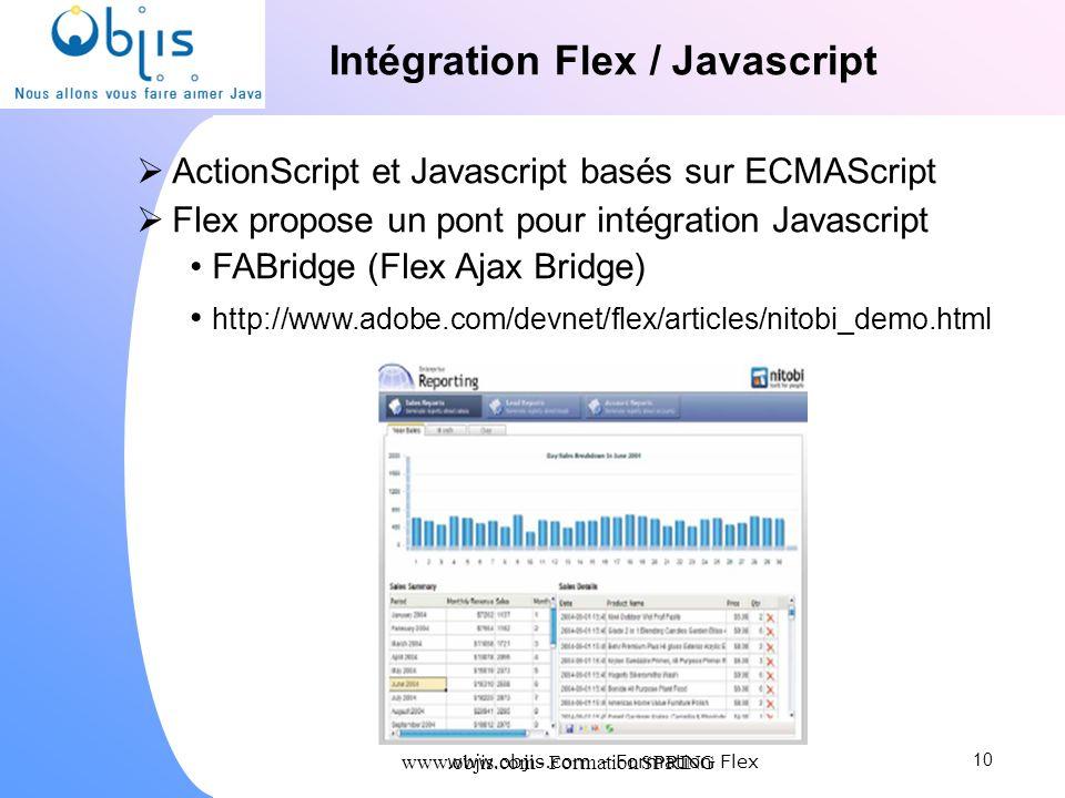 www.objis.com - Formation SPRING Intégration Flex / Javascript ActionScript et Javascript basés sur ECMAScript Flex propose un pont pour intégration J