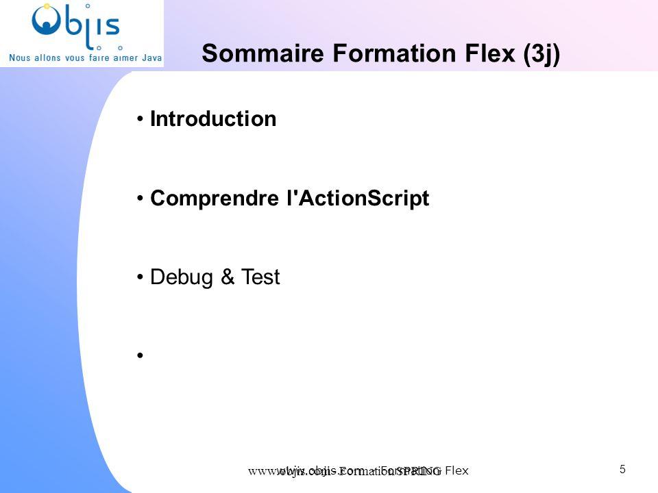 www.objis.com - Formation SPRING Sommaire Formation Flex (3j) Introduction Comprendre l'ActionScript Debug & Test 5 www.objis.com - Formation Flex