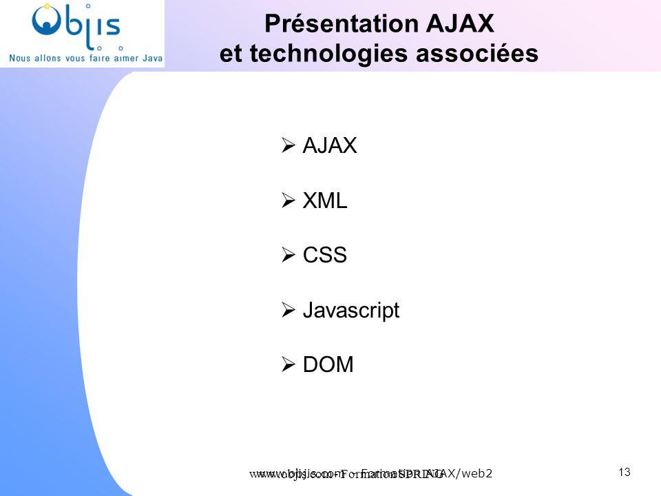 www.objis.com - Formation SPRING Présentation AJAX et technologies associées AJAX XML CSS Javascript DOM 13 www.objis.com - Formation AJAX/web2