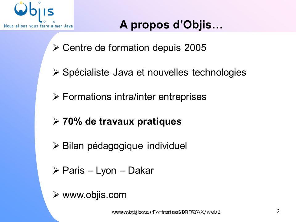 www.objis.com - Formation SPRING A propos dObjis… Centre de formation depuis 2005 Spécialiste Java et nouvelles technologies Formations intra/inter en