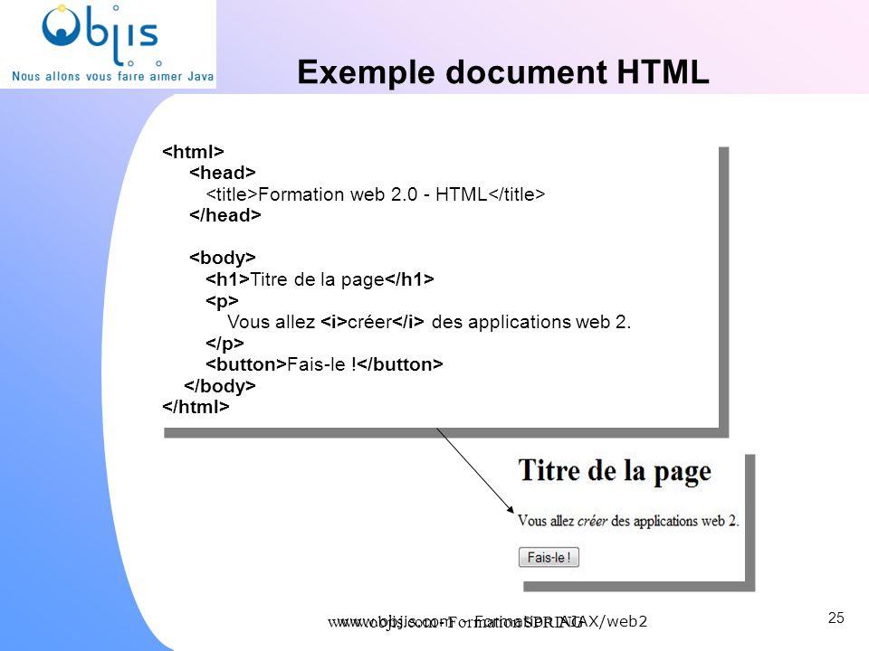 www.objis.com - Formation SPRING Exemple document HTML 25 www.objis.com - Formation AJAX/web2 Formation web 2.0 - HTML Titre de la page Vous allez cré