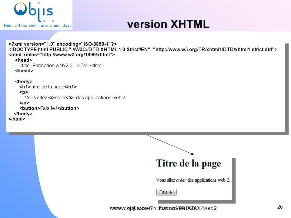 www.objis.com - Formation SPRING version XHTML 26 www.objis.com - Formation AJAX/web2 Formation web 2.0 - HTML Titre de la page Vous allez créer des a