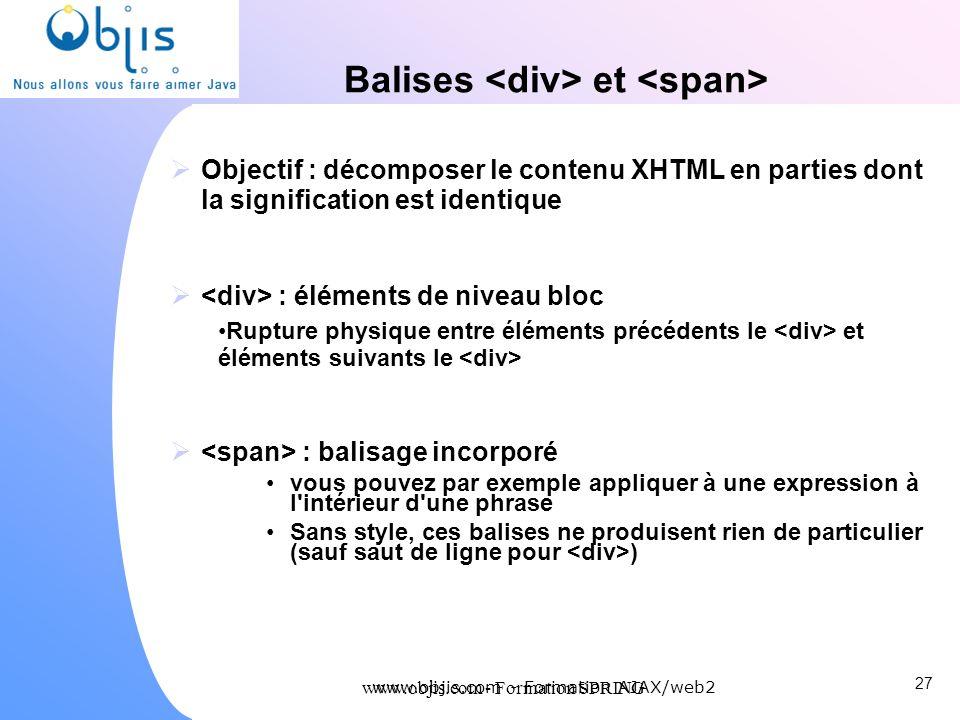 www.objis.com - Formation SPRING Balises et Objectif : décomposer le contenu XHTML en parties dont la signification est identique : éléments de niveau