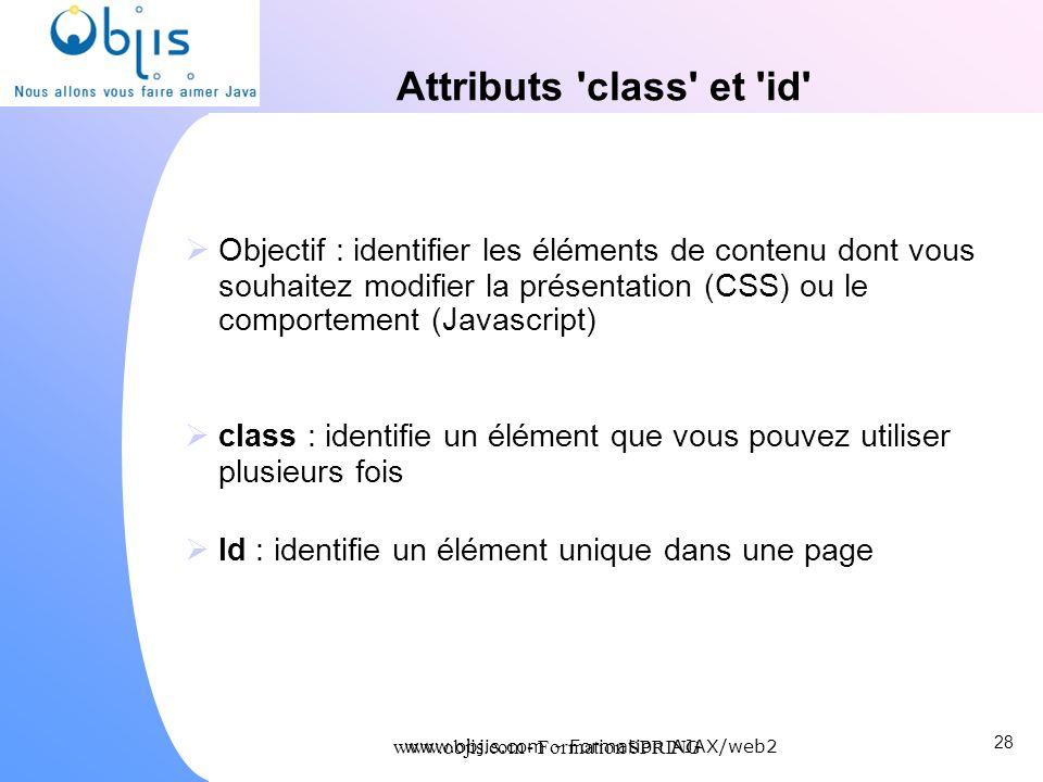 www.objis.com - Formation SPRING Attributs 'class' et 'id' Objectif : identifier les éléments de contenu dont vous souhaitez modifier la présentation