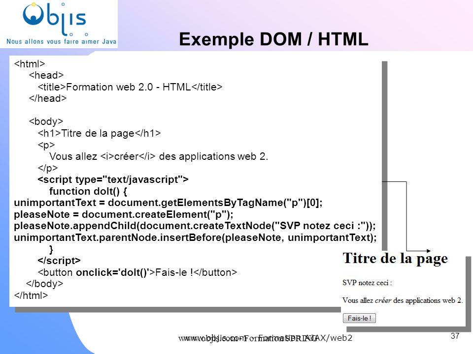 www.objis.com - Formation SPRING Exemple DOM / HTML 37 www.objis.com - Formation AJAX/web2 Formation web 2.0 - HTML Titre de la page Vous allez créer