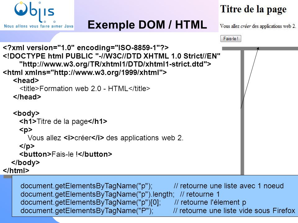 www.objis.com - Formation SPRING Exemple DOM / HTML www.objis.com - Formation AJAX/web2 <!DOCTYPE html PUBLIC