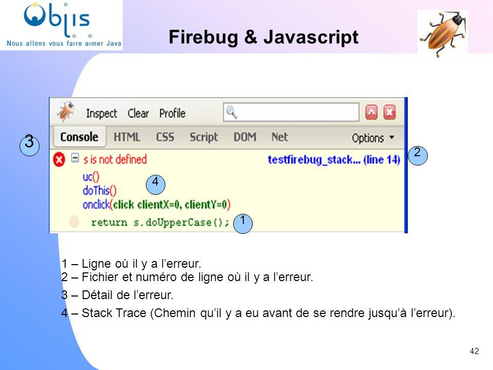 Firebug & Javascript 3 1 2 4 1 – Ligne où il y a lerreur. 2 – Fichier et numéro de ligne où il y a lerreur. 3 – Détail de lerreur. 4 – Stack Trace (Ch