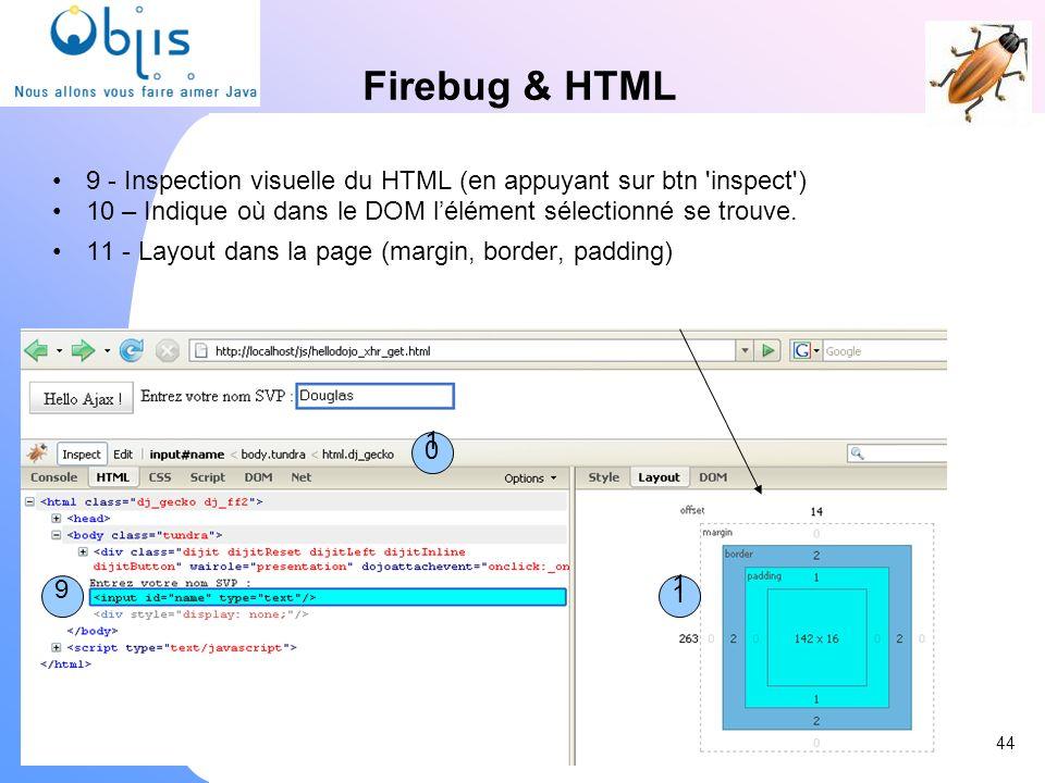 Firebug & HTML 9 - Inspection visuelle du HTML (en appuyant sur btn 'inspect') 10 – Indique où dans le DOM lélément sélectionné se trouve. 11 - Layout