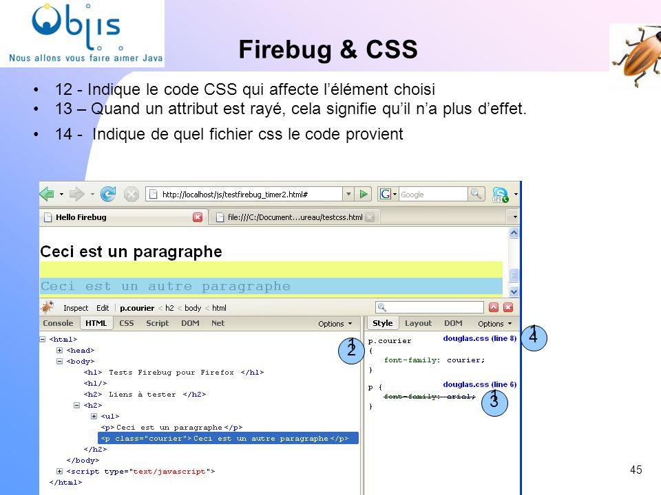 Firebug & CSS 12 - Indique le code CSS qui affecte lélément choisi 13 – Quand un attribut est rayé, cela signifie quil na plus deffet. 14 - Indique de