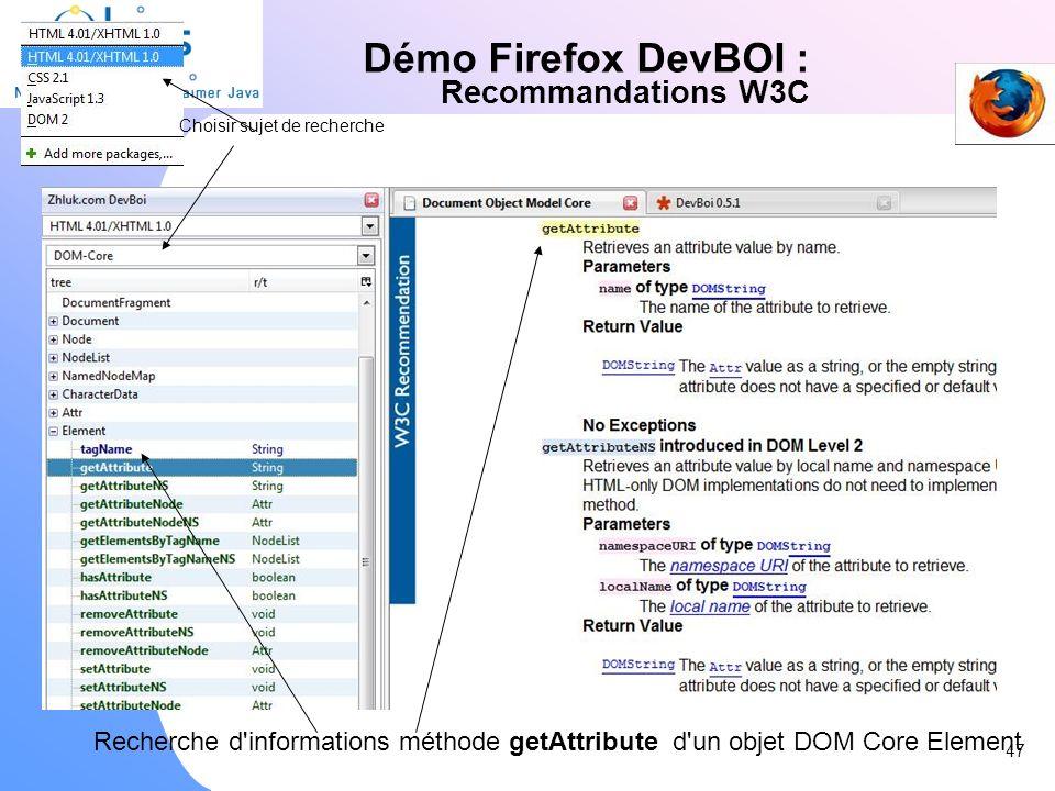 Démo Firefox DevBOI : Recommandations W3C Recherche d'informations méthode getAttribute d'un objet DOM Core Element Choisir sujet de recherche 47