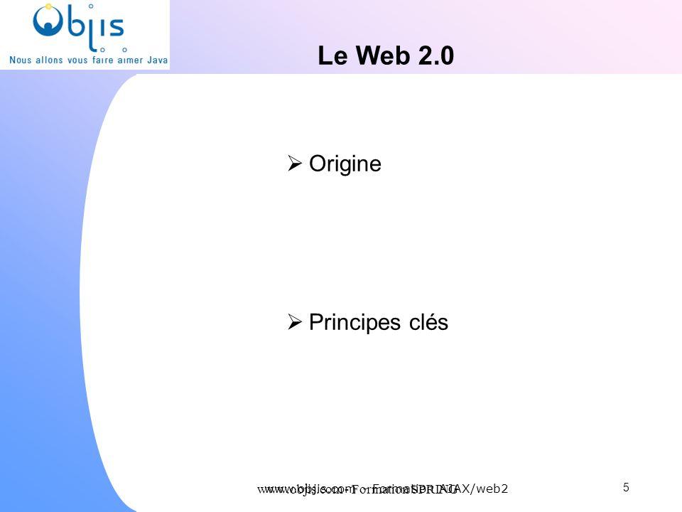 www.objis.com - Formation SPRING Le Web 2.0 Origine Principes clés 5 www.objis.com - Formation AJAX/web2
