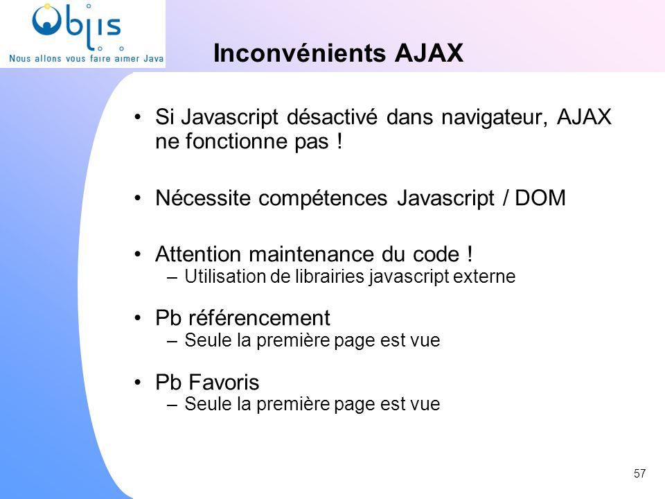 Inconvénients AJAX Si Javascript désactivé dans navigateur, AJAX ne fonctionne pas ! Nécessite compétences Javascript / DOM Attention maintenance du c