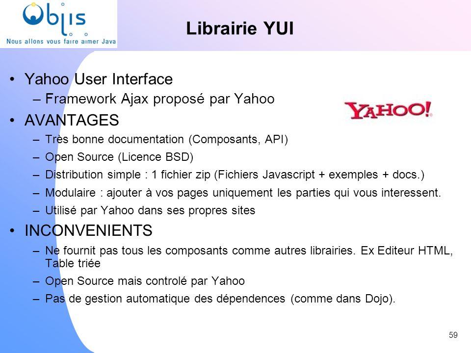 Librairie YUI Yahoo User Interface –Framework Ajax proposé par Yahoo AVANTAGES –Très bonne documentation (Composants, API) –Open Source (Licence BSD)
