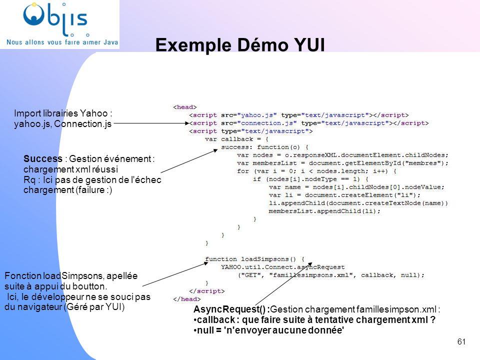 Exemple Démo YUI Import librairies Yahoo : yahoo.js, Connection.js Fonction loadSimpsons, apellée suite à appui du boutton. Ici, le développeur ne se
