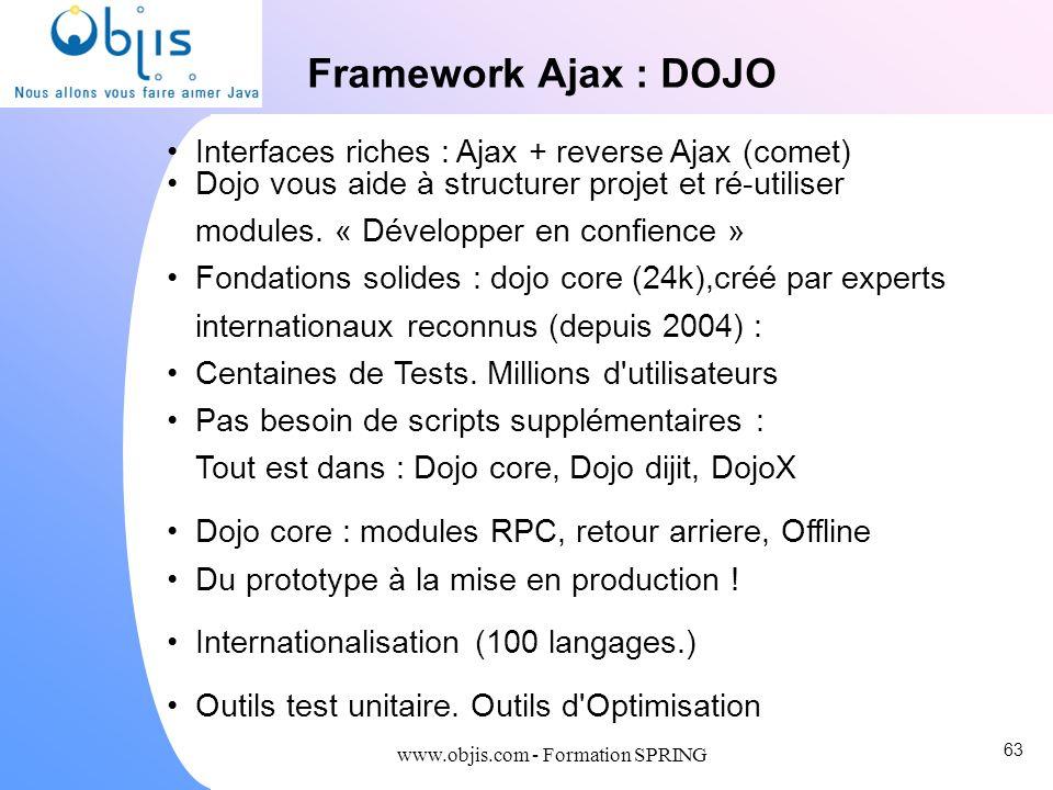 www.objis.com - Formation SPRING Framework Ajax : DOJO Interfaces riches : Ajax + reverse Ajax (comet) Dojo vous aide à structurer projet et ré-utilis