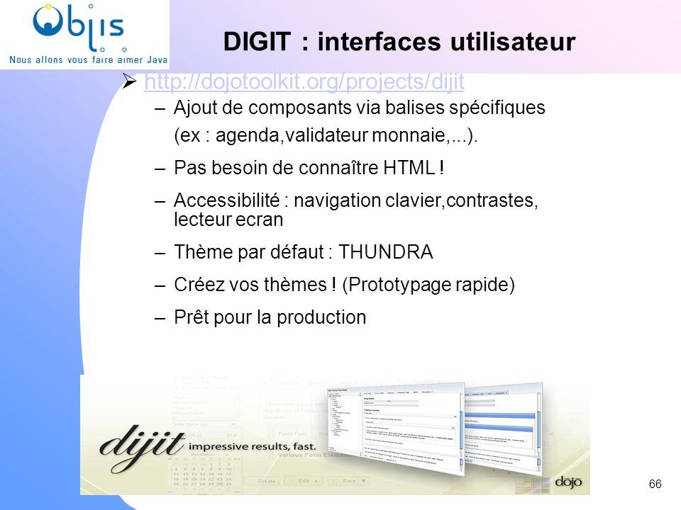 www.objis.com - Formation SPRING DIGIT : interfaces utilisateur http://dojotoolkit.org/projects/dijit –Ajout de composants via balises spécifiques (ex