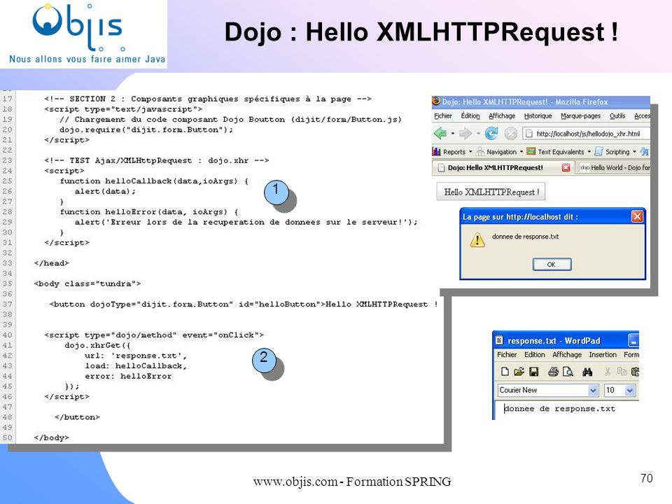 www.objis.com - Formation SPRING Dojo : Hello XMLHTTPRequest ! 1 1 2 2 70