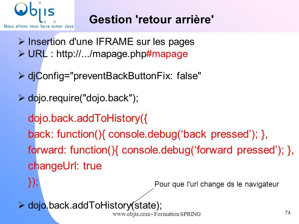 www.objis.com - Formation SPRING Gestion 'retour arrière' Insertion d'une IFRAME sur les pages URL : http://.../mapage.php#mapage djConfig=