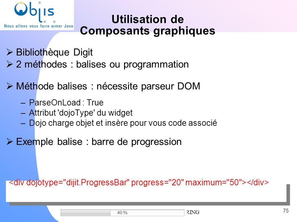 www.objis.com - Formation SPRING Utilisation de Composants graphiques Bibliothèque Digit 2 méthodes : balises ou programmation Méthode balises : néces