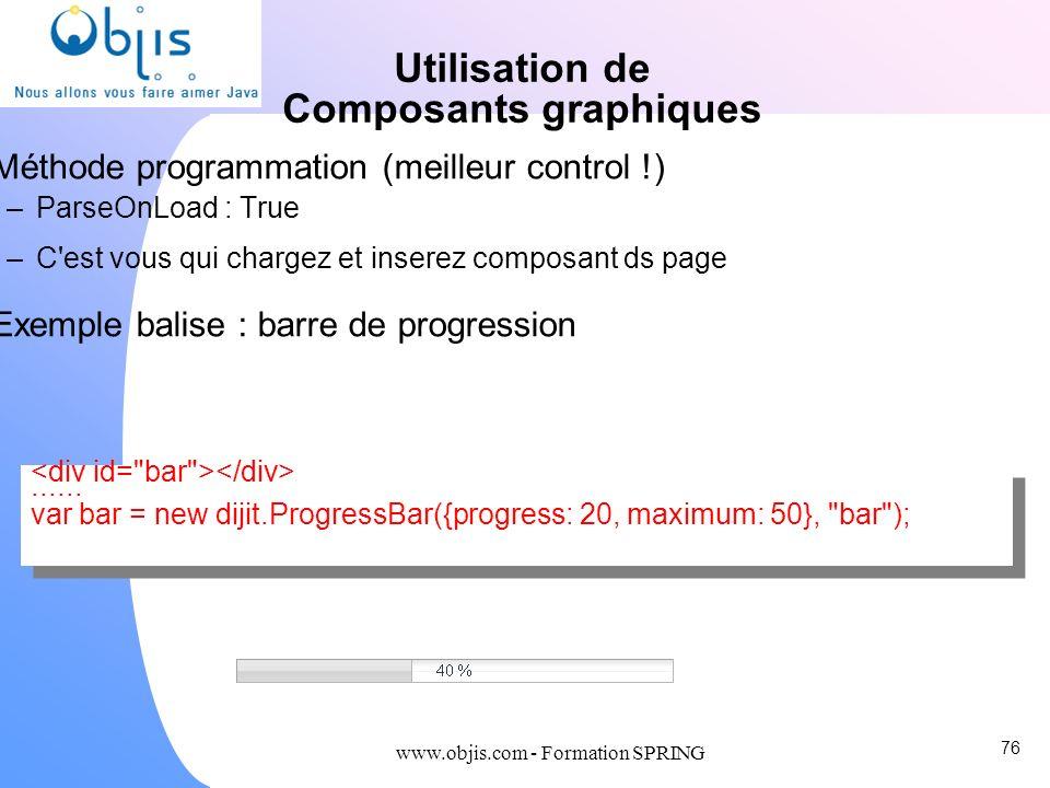 www.objis.com - Formation SPRING Utilisation de Composants graphiques Méthode programmation (meilleur control !) –ParseOnLoad : True –C'est vous qui c