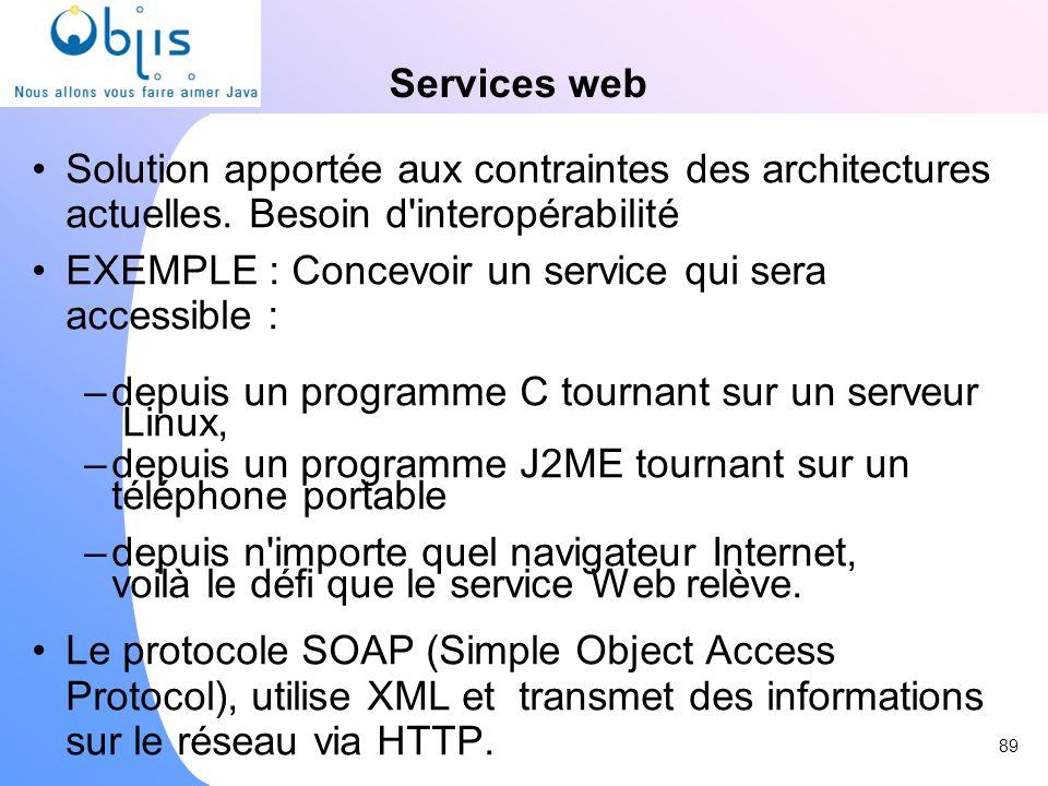 Services web Solution apportée aux contraintes des architectures actuelles. Besoin d'interopérabilité EXEMPLE : Concevoir un service qui sera accessib