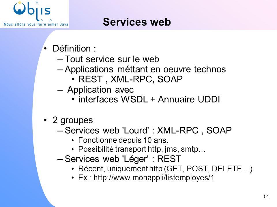 Services web Définition : –Tout service sur le web –Applications méttant en oeuvre technos REST, XML-RPC, SOAP – Application avec interfaces WSDL + An