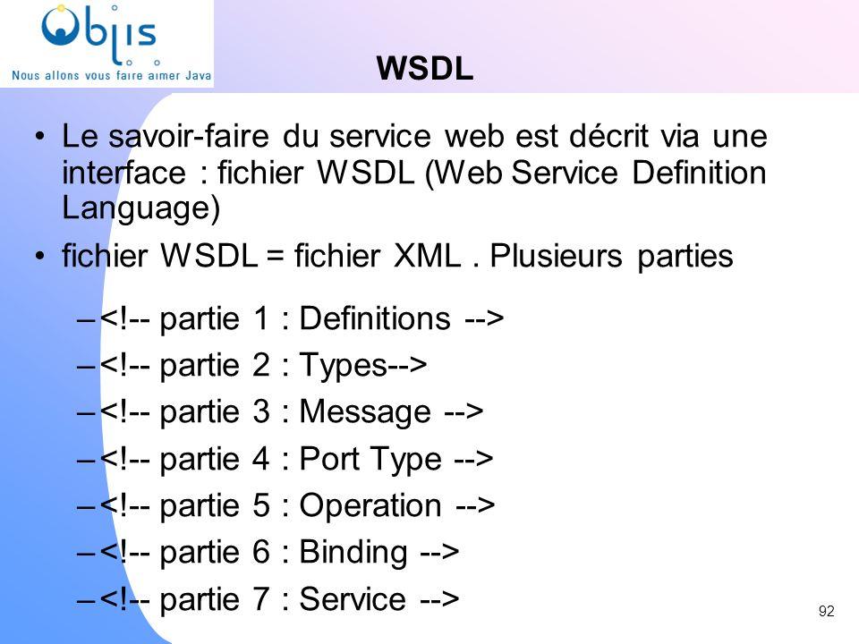 WSDL Le savoir-faire du service web est décrit via une interface : fichier WSDL (Web Service Definition Language) fichier WSDL = fichier XML. Plusieur