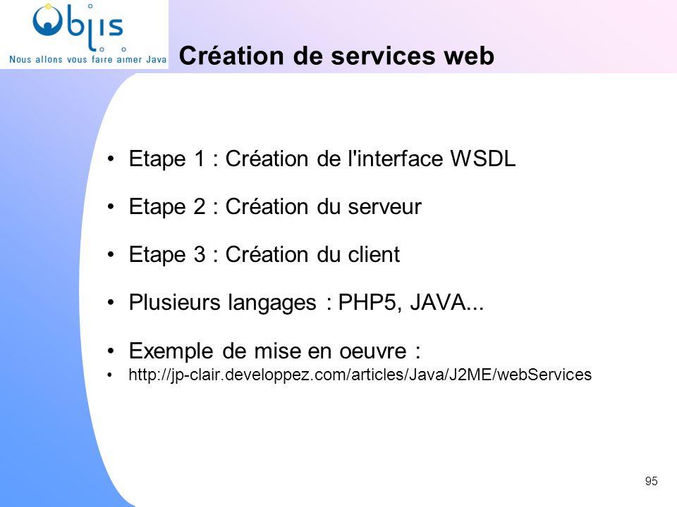 Création de services web Etape 1 : Création de l'interface WSDL Etape 2 : Création du serveur Etape 3 : Création du client Plusieurs langages : PHP5,
