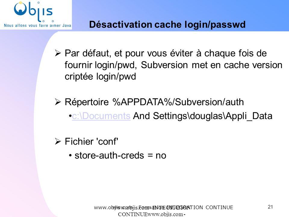 www.objis.com - INTEGRATION CONTINUEwww.objis.com - Formation SPRING Désactivation cache login/passwd Par défaut, et pour vous éviter à chaque fois de