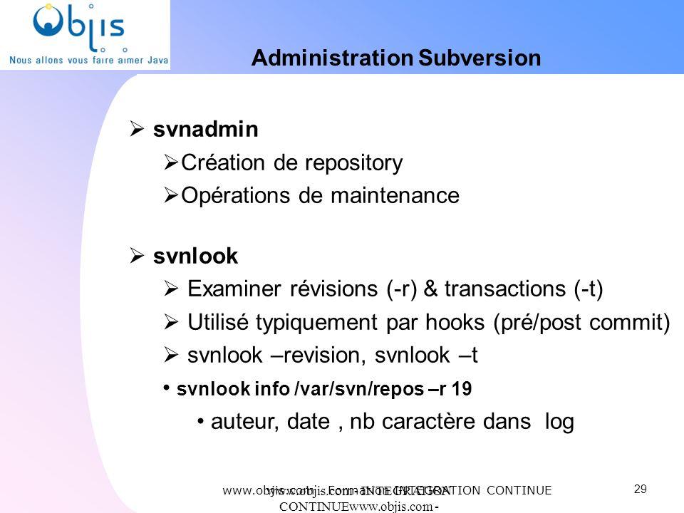 www.objis.com - INTEGRATION CONTINUEwww.objis.com - Formation SPRING Administration Subversion svnadmin Création de repository Opérations de maintenan