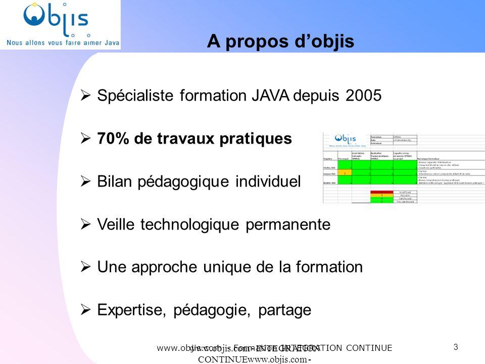 www.objis.com - INTEGRATION CONTINUEwww.objis.com - Formation SPRING A propos dobjis Spécialiste formation JAVA depuis 2005 70% de travaux pratiques B