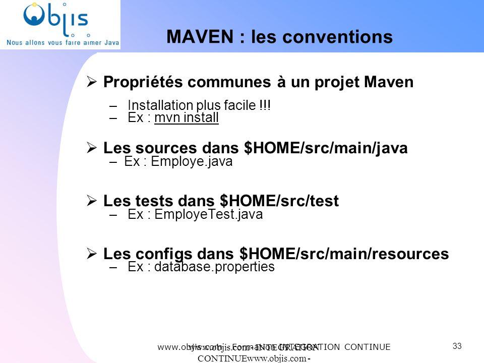 www.objis.com - INTEGRATION CONTINUEwww.objis.com - Formation SPRING MAVEN : les conventions Propriétés communes à un projet Maven – Installation plus