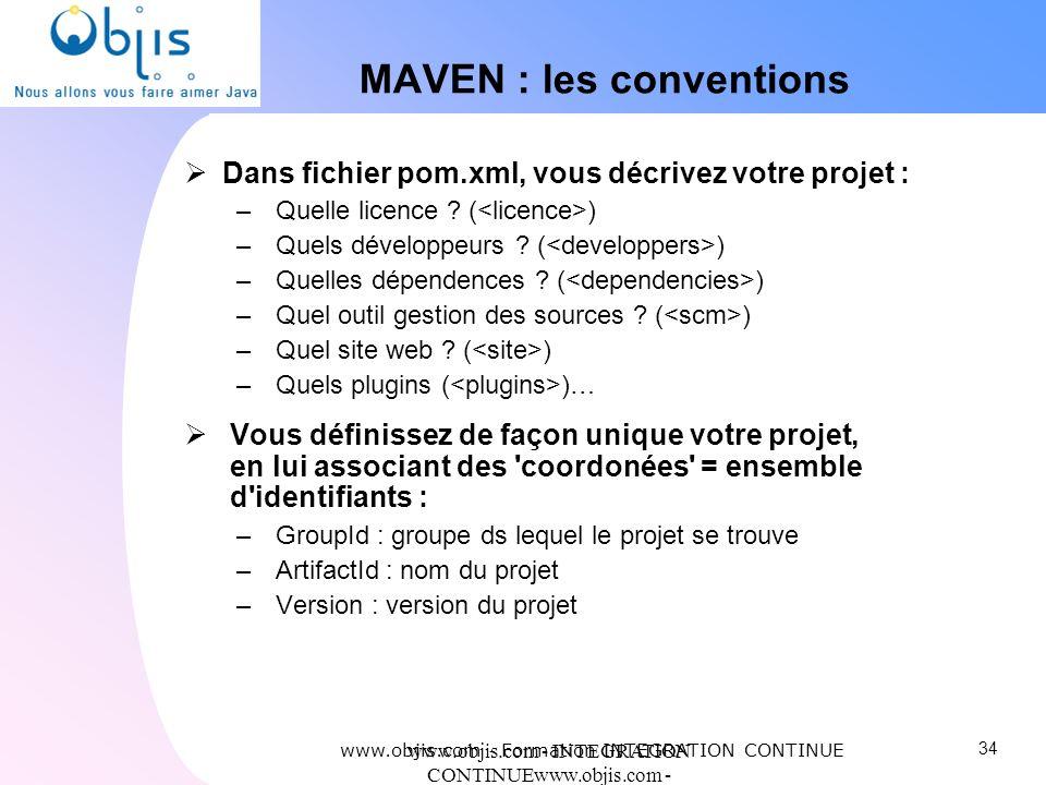 www.objis.com - INTEGRATION CONTINUEwww.objis.com - Formation SPRING MAVEN : les conventions Dans fichier pom.xml, vous décrivez votre projet : – Quel