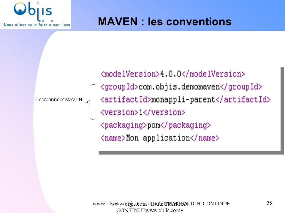 www.objis.com - INTEGRATION CONTINUEwww.objis.com - Formation SPRING MAVEN : les conventions Coordonnées MAVEN www.objis.com - Formation INTEGRATION C